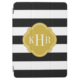 Black and Gold Wide Stripes Monogram iPad Air Cover