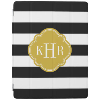Black and Gold Wide Stripes Monogram iPad Cover