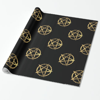 Black and gold witches  pentagram wrapping paper
