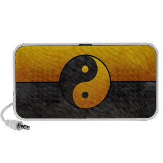 black and gold yin yang PC speakers