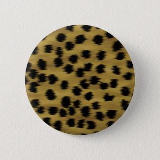 Black and Golden Brown Cheetah Print Pattern. 6 Cm Round Badge
