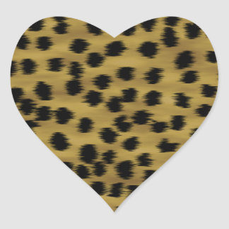 Black and Golden Brown Cheetah Print Pattern. Heart Sticker