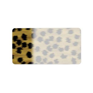Black and Golden Brown Cheetah Print Pattern. Label
