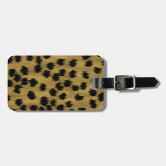 Black and Golden Brown Cheetah Print Pattern. Luggage Tag