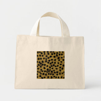 Black and Golden Brown Cheetah Print Pattern. Mini Tote Bag