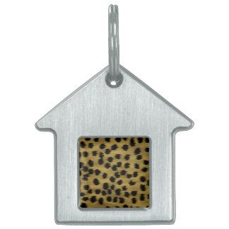 Black and Golden Brown Cheetah Print Pattern. Pet Name Tag