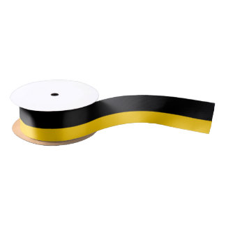 "Black and Golden Yellow 1.5"" Wide Satin Ribbon"