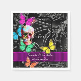 Black and gothic sugar skull wedding disposable napkin