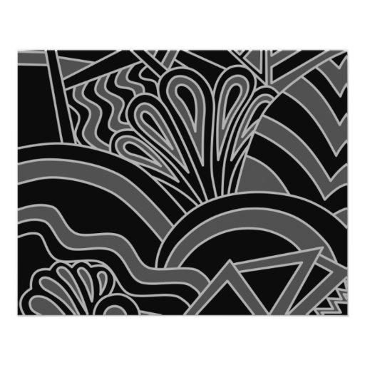 Black and Gray Art Deco Design. Flyer Design