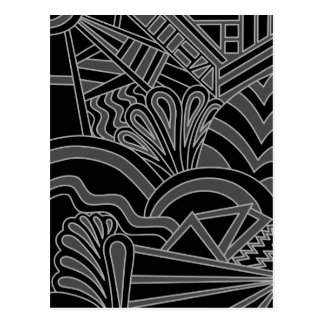 Black and Gray Art Deco Design. Postcard