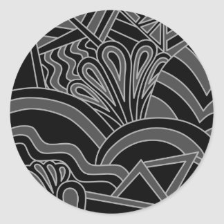 Black and Gray Art Deco Design Stickers