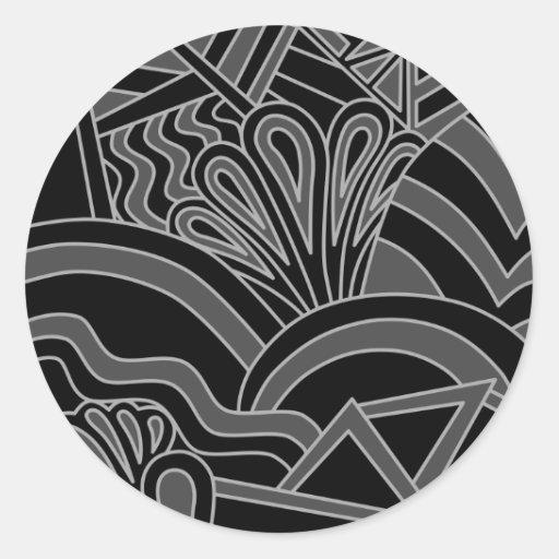 Black and Gray Art Deco Design. Stickers