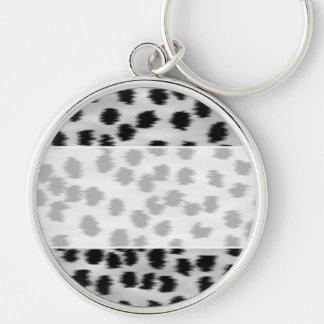 Black and Gray Cheetah Print Pattern. Key Ring