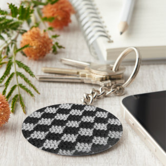 Black and Gray Chessboard Squares Crochet Print on Key Ring
