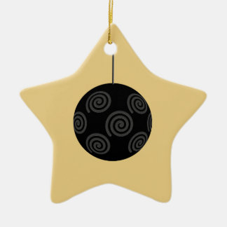 Black and Gray Christmas Bauble on Gold. Christmas Ornament