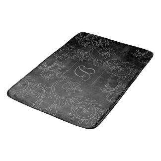Black and Gray Damask Monogram Bath Mat