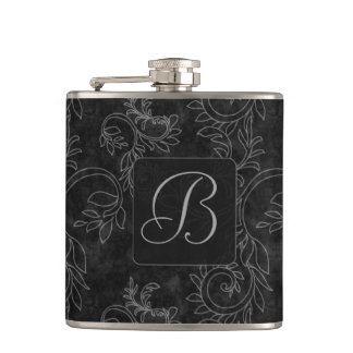 Black and Gray Damask Monogram Hip Flask