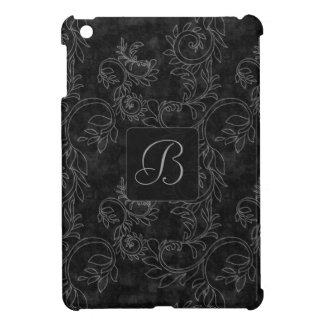 Black and Gray Damask Monogram iPad Mini Cover