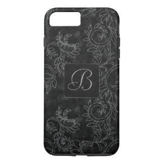 Black and Gray Damask Monogram iPhone 8 Plus/7 Plus Case