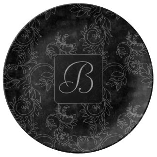 Black and Gray Damask Monogram Plate