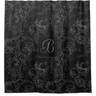 Black and Gray Damask Monogram Shower Curtain