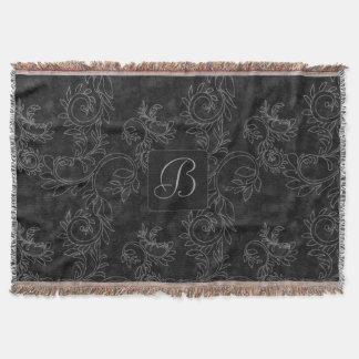 Black and Gray Damask Monogram Throw Blanket