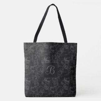 Black and Gray Damask Monogram Tote Bag