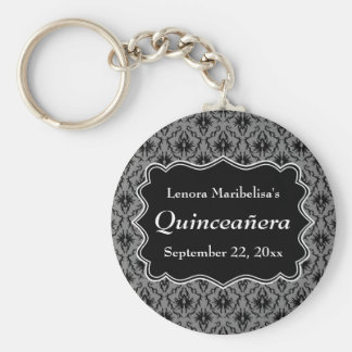 Black and Gray Damask Pattern Quinceanera Keychains