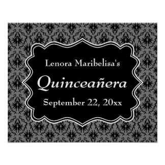 Black and Gray Damask Pattern Quinceanera Poster