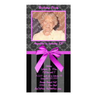Black And Gray Damask With Hot Pink Ribbon Photo Cards