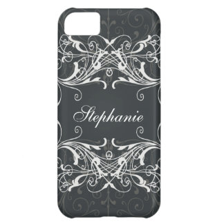 Black and gray floral flower cover for iPhone 5C