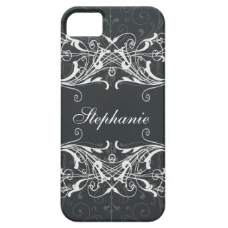 Black and gray floral flower iPhone 5 cases