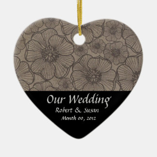 Black and Gray Floral Wedding Favor Keepsake Christmas Ornament