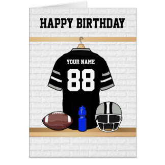 Black and Gray Football Jersey Happy Birthday Greeting Card