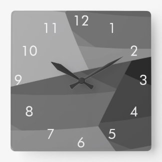 Black and Gray Geometric Square Wall Clock