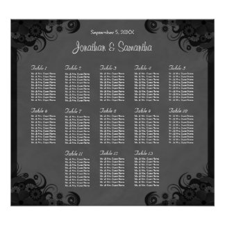 Black and Gray Goth Wedding 13 Table Seating Chart Poster