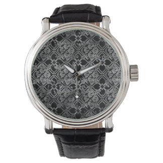 Black and Gray Grunge Floral Watch