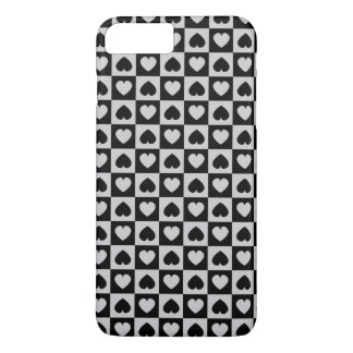 Black and Gray Heart Design iPhone 7 Plus Case
