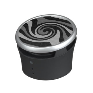 Black and gray modern abstract wave pattern bluetooth speaker