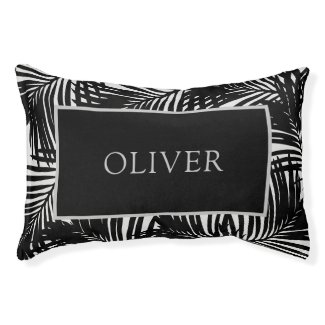 Black and Gray Modern Palm Tree Custom Name Pet Bed