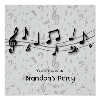 Black and Gray Music Notes Party Card