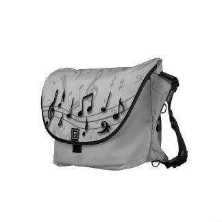 Black and Gray Musical Notes Messenger Bags