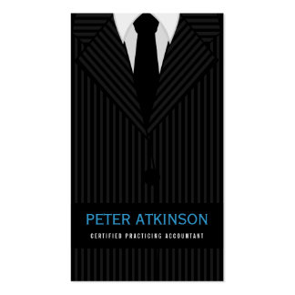 Black and Gray Pinstripe Suit Vertical Accountant Pack Of Standard Business Cards