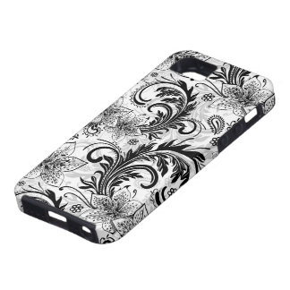 Black And Gray Retro Flower Large Pattern iPhone 5 Cases