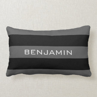 Black and Gray Rugby Stripes with Custom Name Lumbar Pillow