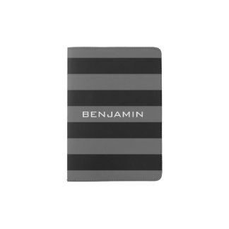 Black and Gray Rugby Stripes with Custom Name Passport Holder