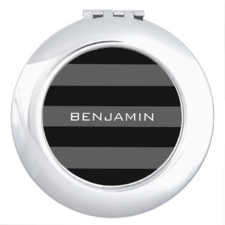 Black and Gray Rugby Stripes with Custom Name Compact Mirror