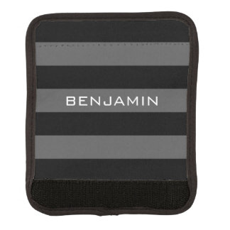 Black and Gray Rugby Stripes with Custom Name Luggage Handle Wrap