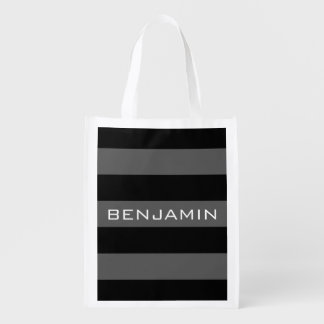 Black and Gray Rugby Stripes with Custom Name Reusable Grocery Bag