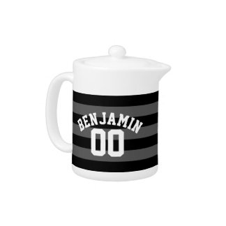 Black and Gray Silver Rugby Stripes Name Number